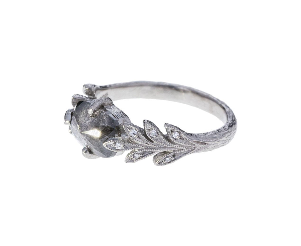 Rustic Diamond Leafside Ring zoom 2_cathy_waterman_platinum_diamond_leafside_ring