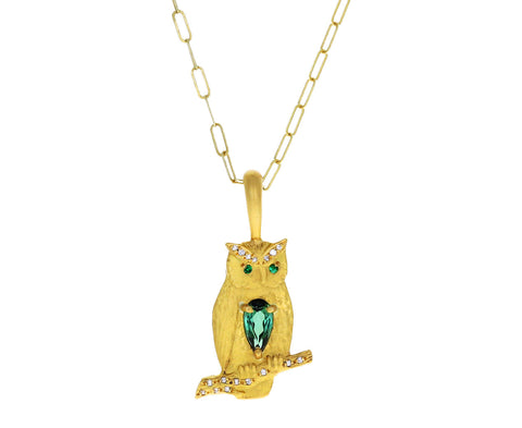 Blue-Green Tourmaline Owl Charm Pendant ONLY
