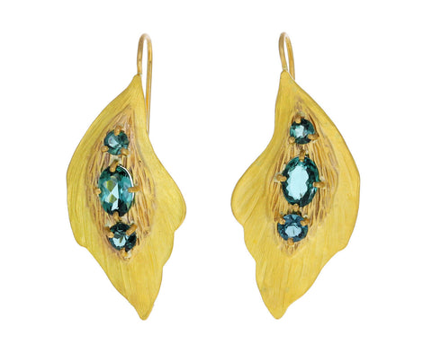 Blue-Green Tourmaline Leaf Earrings