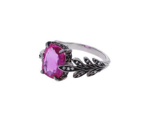 Pink Sapphire Diamond Leafside Ring