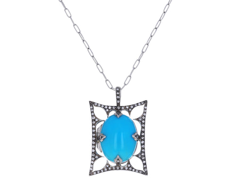 Turquoise and Diamond Arabesque Thorn Frame Locket ONLY