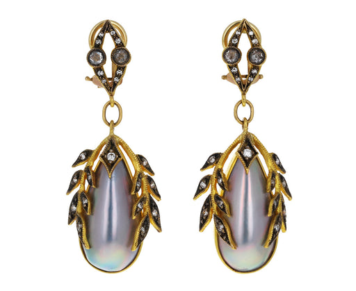 Diamond Garland Mabe Pearl Earrings
