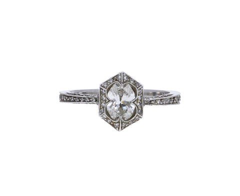 Diamond Waves Solitaire Ring