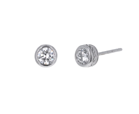 Large Platinum Milgrain Diamond Stud Earrings