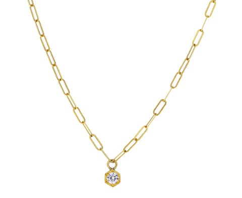 Hexagonal Diamond Pendant Necklace