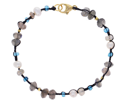 Pearl, Labradorite and Topaz Beaded Bracelet