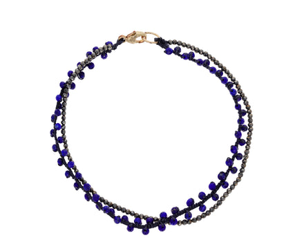 Lapis and Pyrite Double Beaded Bracelet