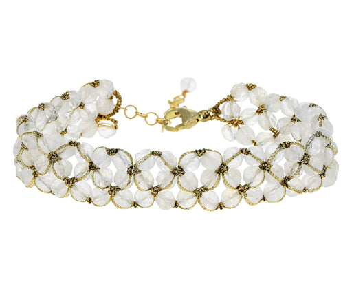 Woven Moonstone Beaded Bracelet