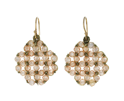 Peach Zircon Lace Earrings