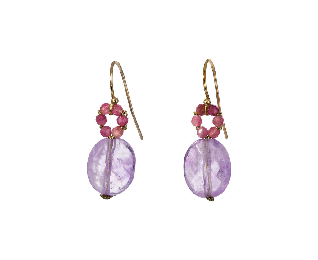 Pink Sapphire and Amethyst Drop Earrings