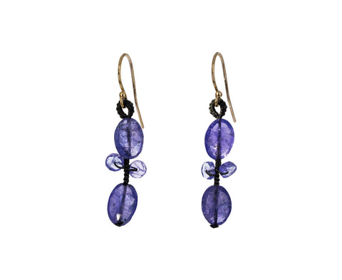 Tanzanite Oval Blossom Drop Earrings