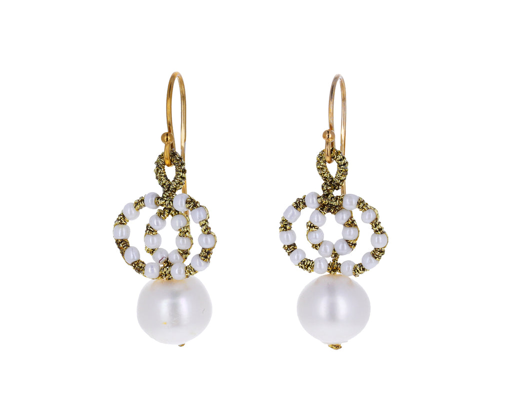 Woven Pearl Drop Earrings