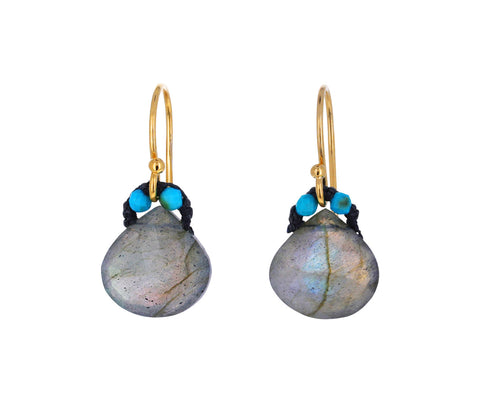 Labradorite and Turquoise Bead Earrings