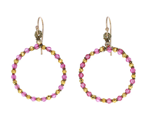 Pink Quartz Woven Hoop Earrings