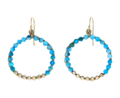 Apatite Woven Hoop Earrings