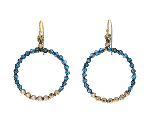 London Blue Quartz and Pyrite Hoop Earrings