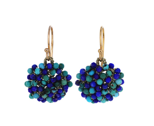 Lapis and Turquoise Woven Beaded Earrings