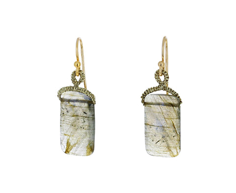 Labradorite Rectangular Drop Earrings