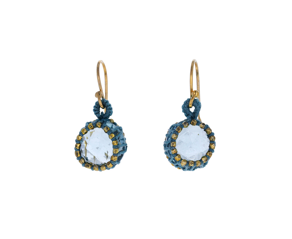 Caged Aqua Quartz Drop Earrings