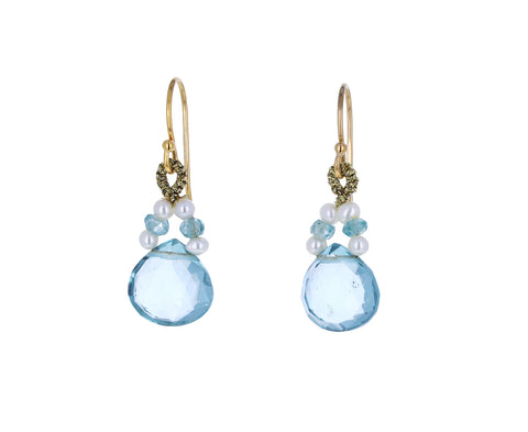 Blue Topaz, Zircon and Pearl Drop Earrings