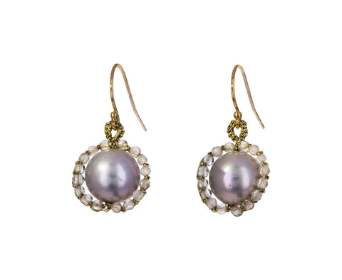 Gray Pearl and Bead Drop Earrings