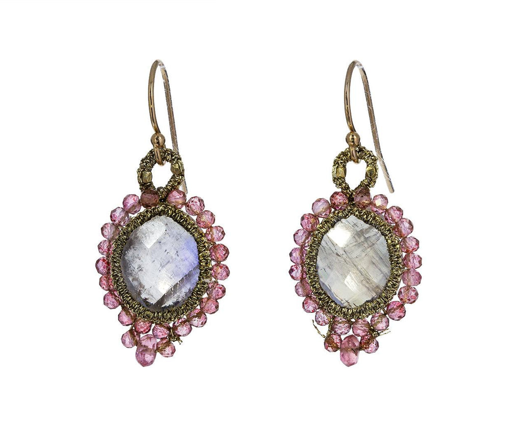 Caged Rainbow Moonstone and Pink Tourmaline Bead Earrings zoom 1_danielle_welmond_moonstone_tourmaline_earrings
