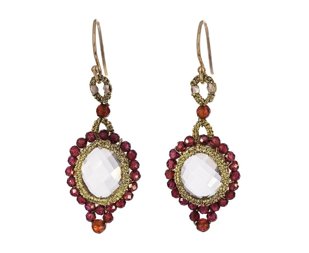 Caged Crystal and Garnet Bead Earrings - TWISTonline