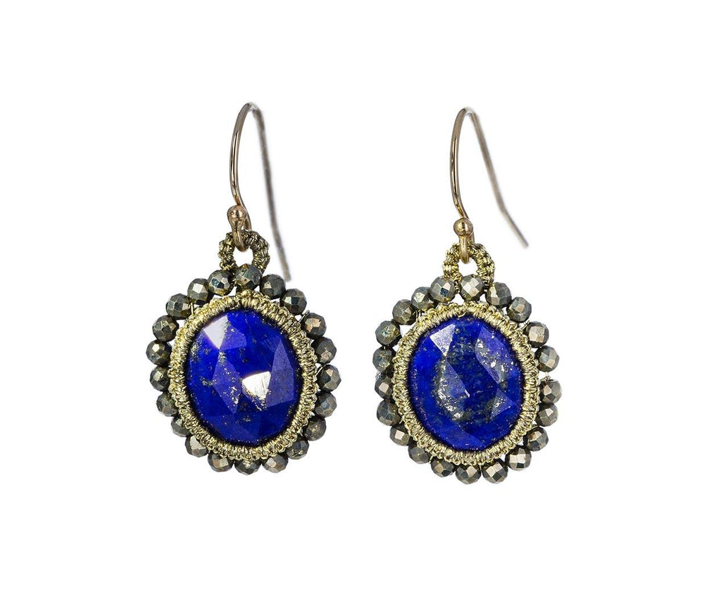 Caged Lapis and Beaded Pyrite Earrings - TWISTonline