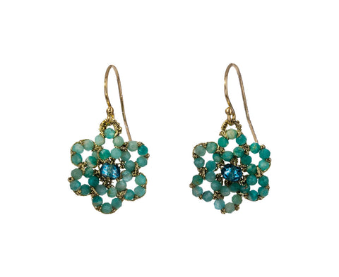 Amazonite and London Blue Quartz Flower Earrings