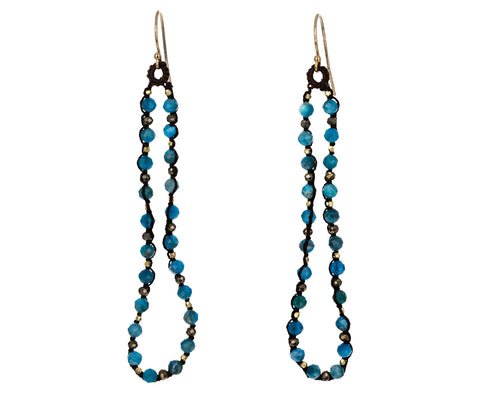 Amazonite and Pyrite Beaded Drop Earrings