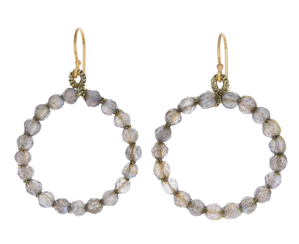 Labradorite Circle Drop Earrings