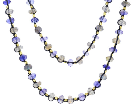 Long Iolite and Labradorite Beaded Necklace