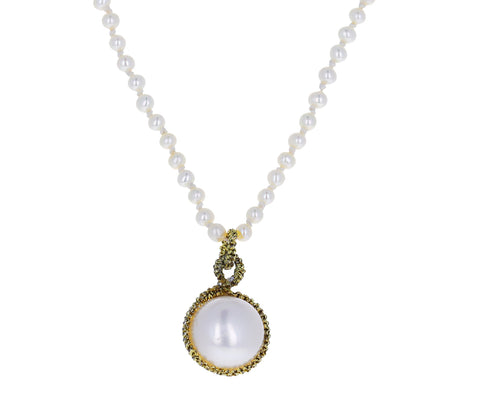 Pearl Bead and Caged Pendant Necklace