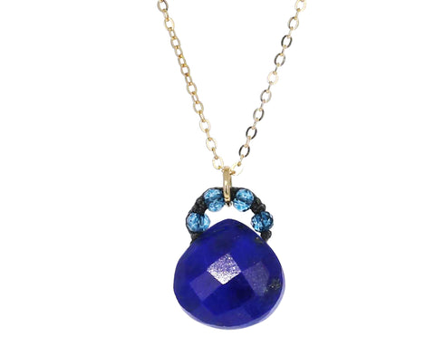 Lapis and London Blue Quartz Pendant Necklace