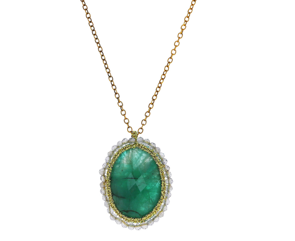 Emerald and Labradorite Caged Pendant Necklace