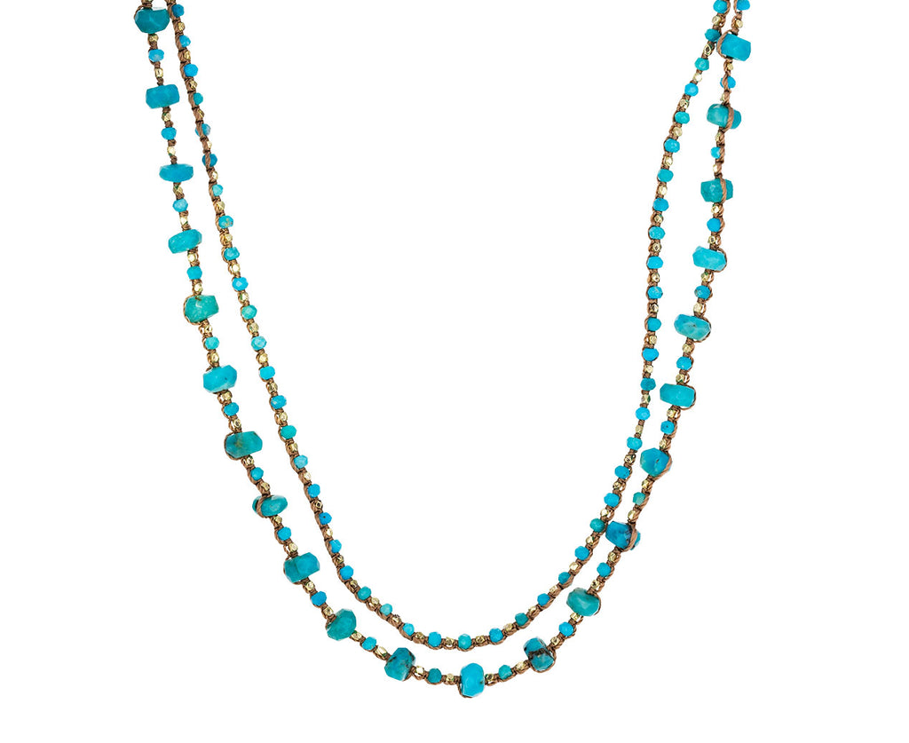 Turquoise Double Strand Beaded Necklace - TWISTonline