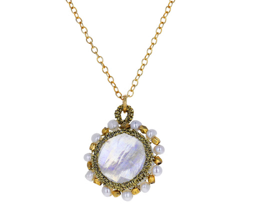 Pearl and Moonstone Caged Pendant Necklace