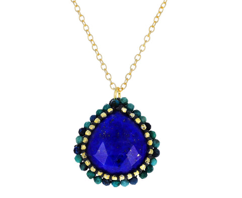 Caged Lapis and Chrysocolla Pendant Necklace