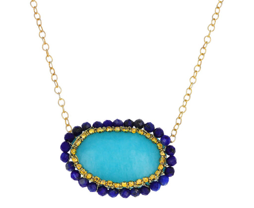 Caged Amazonite and Lapis Pendant Necklace