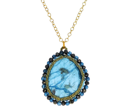 Apatite and Pyrite Caged Pendant Necklace