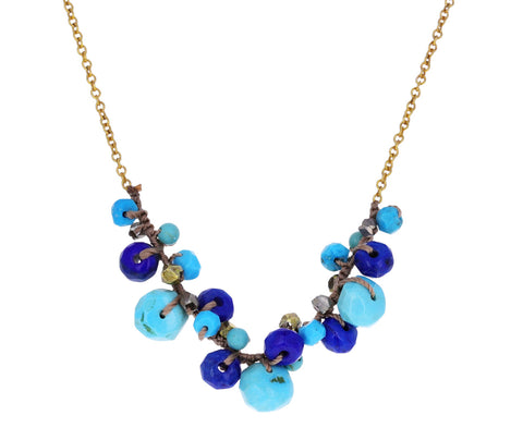 Blue Beaded Pendant Necklace