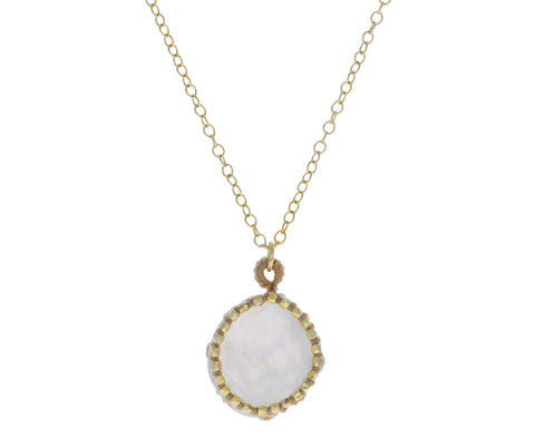 Caged Rainbow Moonstone Necklace
