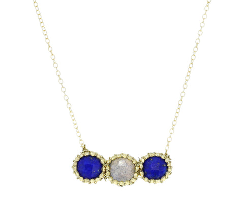 Lapis and Labradorite Bar Pendant Necklace - TWISTonline