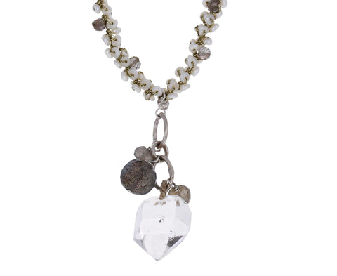 Pearl, Labradorite, and Herkimer Diamond Necklace