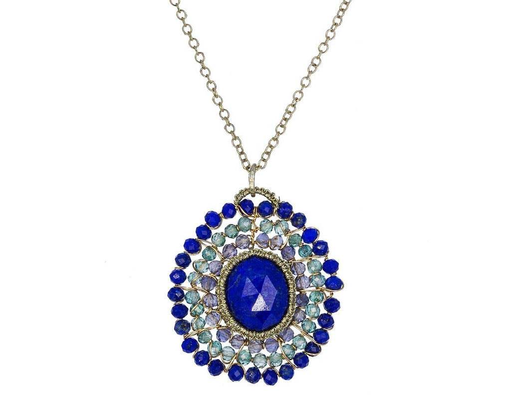 Beaded Caged Lapis Pendant Necklace  zoom 1_danielle_welmond_caged_lapis_mystic_green_neckla