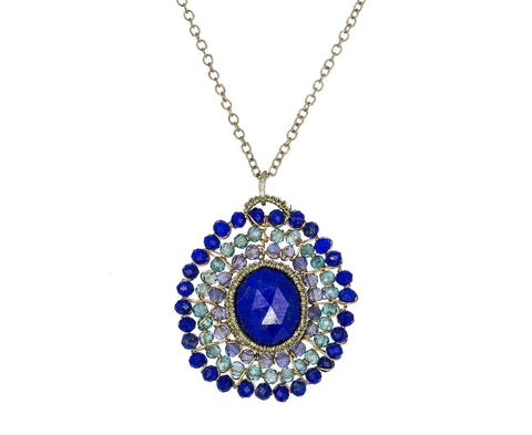Beaded Caged Lapis Pendant Necklace - TWISTonline