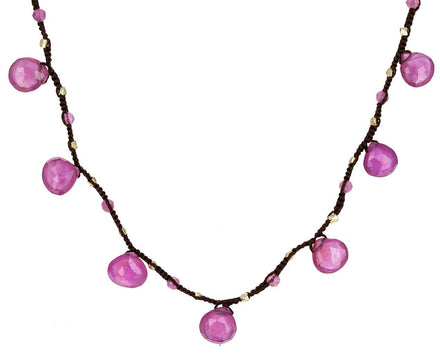 Pink Tourmaline and Sapphire Beaded Necklace - TWISTonline
