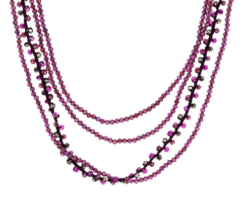 Multi-Colored Garnet, Ruby and Pyrite Beaded Necklace zoom 1_danielle_welmond_garnet_multi_strand_necklace