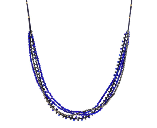 Lapis and Pyrite Multi-Strand Beaded Necklace