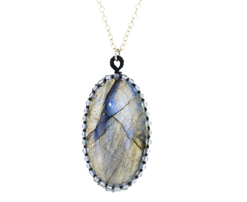 Caged Labradorite Cabochon Pendant Necklace